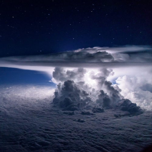 Cockpit view of a thunderstorm